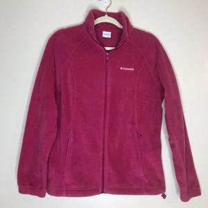 Columbia Pink Fleece Full Zip Up Jacket L